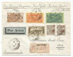 GUYANE PA 10FR+1FR05+2FR+1FR+65C+85C LETTRE REC AVION CAYENNE 1.2.1935 POUR SUISSE MENTION CAYENNE NEW YORK LONDRES - Guyane Française (1886-1949)