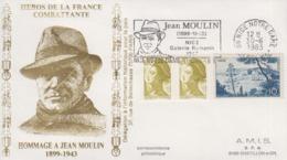 Enveloppe   FRANCE   Hommage  à   JEAN   MOULIN    NICE   1983 - WW2