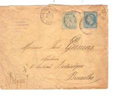 REF1422/ TP 22-111 Affr.2 Emissions S/L.C.Caris Philatéliste C.Luzarches 28/7/1906 > Belgique BXL C.d'arrivée Déchirure - Postmark Collection (Covers)