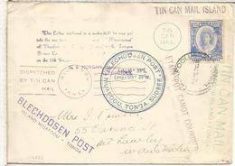 TONGA 1938 TIN CAN MAIL ISLAND CORREO POR LATA TRANSPORTE - Tonga (1970-...)