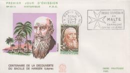 Enveloppe  FDC  Oblitération   Flamme  1er  Jour  FRANCE    Découverte  Du   Bacille   De   HANSEN    1973 - Disease