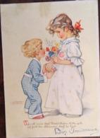 Cp ,Illustrateur, Signée Lungers Hausen, Fillettes, Fleurs, Cadeau, éd C.Werner, 1030, Germany, écrite - Hausen, Lungers