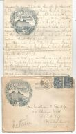 MOUCHON 25C PAIRE LETTRE ENTETE + CORRESPONDANCE CANNES GD HOTEL DU PARC 1901 POUR USA - Marcophilie (Lettres)
