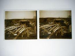 PHOTO STEREO SUR PLAQUE DE VERRE GUERRE 14 / 18 DANS LES TRANCHEES - Oorlog, Militair