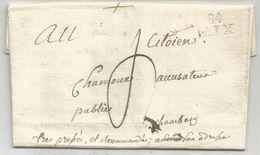 MARQUE CONQUIS MONT BLANC 84 AIX LETTRE CHINDRIEUX SAVOIE + TEXTE POUR CITOYEN ACCUSATEUR PUBLIC CHAMBERY - Postmark Collection (Covers)