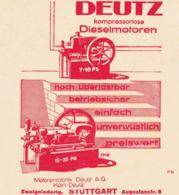 Original-Werbung/ Anzeige 1929 - DIESELMOTOREN DEUTZ - KÖLN-DEUTZ / STUTTGART - Ca. 115 X 120 Mm - Pubblicitari
