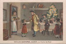 CHROMO CHICOREE DANIEL VOELCKER-COUMES BAYON  VIEILLES COUTUMES  ALSACE  LA BUCHE DE NOEL - Trade Cards