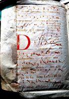 PARCHEMIN ANCIEN MANUSCRIT LETTRINES 17° 18 ° SIECLE AYANT SERVI DE RELIURE - Documenti Storici