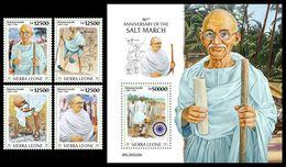 SIERRA LEONE 2020 - Salt March, M. Gandhi, 4v + S/S Official Issue [SRL200220] - Mahatma Gandhi