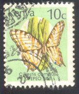 KENYA 10 USED STAMP A90449 BUTTERFLY - Kenia (1963-...)