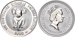 100 Dollars, Platin, 1988, Koala, KM 111, Fb. B20, In Kapsel, St.  St - Australien