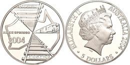 5 Dollars, 2004, Eisenbahnstrecke Von Adelaide Nach Darwin, KM 729, Schön 795, Im Etui Mit OVP Und Zertifikat, Angelaufe - Australia