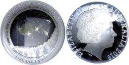 5 Dollars, 2016, Northern Sky - Cassiopeia, 1 Unze Silber, Gewölbt, Coloriert, Etui Mit OVP Und Zertifikat, PP. Auflage  - Australien