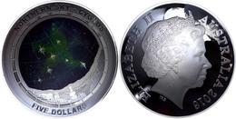 5 Dollars, 2016, Northern Sky - Cygnus, 1 Unze Silber, Gewölbt, Coloriert, Etui Mit OVP Und Zertifikat. Auflage Nur 5.00 - Australien