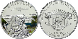 1.000 Francs, 2011, Säbelzahntiger, 925er Silber, Coloriert, Etui Mit OVP Und Zertifikat, PP. Auflage Nur 1000 Stück.  P - Costa De Marfil