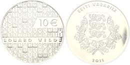 10 Euro, 2015, Eduward Vilde, Im Etui Mit OVP Und Zertifikat, PP. Auflage Nur 5.000 Stück.  PP - Estland