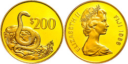 200 Dollars, Gold, 1986, Ogmodon (Fidschi-Schlange), KM 56, In Kapsel, PP.  PP - Fiji