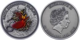 20 Dollars, 2012, Paradiesvogel, 2 Unze Silber, Coloriert, Antik Finish, Etui Mit OVP Und Zertifikat, St. Auflage Nur 50 - Fiji