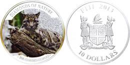 10 Dollars, 2013, Leopard, 1 Unze Silber, Coloriert, Etui Mit OVP Und Zertifikat, PP. Auflage Nur 1.000 Stück.  PP - Fiji