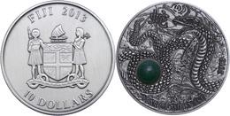 10 Dollars, 2013, Year Oh The Snake, 999er Silber, Antik Finish, High Relief, Stein, In Kapsel Mit Zertifikat, St. Aufla - Fidschi