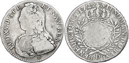 1/2 Écu Aux Branches D'olivier, 1729, D (Lyon), Louis XV., Gadoury 313(R2), S-ss.  S-ss - Francia