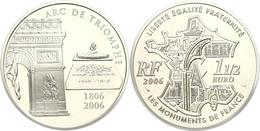 1,5 Euro, 2006, 200 Jahre Triumphbogen, KM 1456, Schön 853, Im Etui Mit OVP Und Zertifikat, Angelaufen, PP. Auflage Nur  - Francia