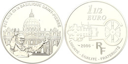1,5 Euro, 2006, 500 Jahre Basilica Di San Pietro In Vaticano, KM 1455, Schön 845, Im Etui Mit OVP Und Zertifikat, Angela - Francia