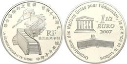 1,5 Euro, 2007, 60 Jahre UNESCO - Chinesische Mauer, Schön 919, Im Etui Mit OVP Und Zertifikat, Angelaufen, PP. Auflage  - Francia