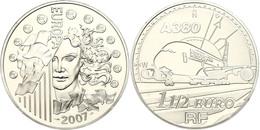1,5 Euro, 2007, Europäische Währungsunion - Airbus A380, KM 1479, Schön 889, Im Etui Mit OVP Und Zertifikat, Angelaufen, - Francia