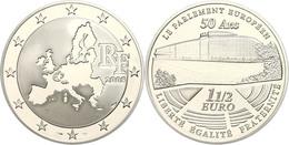 1,5 Euro, 2008, 50 Jahre Europäisches Parlament, KM 1532, Schön 977, Im Etui Mit OVP Und Zertifikat, Angelaufen, PP. Auf - Francia