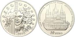 1,5 Euro, 2010, Europäische Währungsunion - Gründung Der Abtei Von Cluny, KM 1681, Schön 1095, Im Etui Mit OVP Und Zerti - Francia