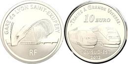 10 Euro, 2012, Eisenbahn In Frankreich - TGV Sud Est Und TGV Duplex, KM 1911, Schön 1318, Im Etui Mit OVP Und Zertifikat - Francia