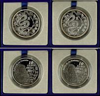 Set Zu 2x 10 Euro, 2012, Année Du Dragon, Je 900er Silber, In Etuis Mit OVPs Und Zertifikaten, PP. Auflage Je Münze 10.0 - Francia