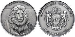 1.000 Francs, 2013, Africa - Löwe, 1 Unzen Silber, Antik Finish, In Kapsel Mit Zertifikat, St. Auflage Nur 2.000 Stück.  - Gabon