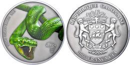 2.000 Francs, 2013, Africa - Schlange, 3 Unzen Silber, Coloriert, Antik Finish, In Kapsel Mit Zertifikat, St. Auflage Nu - Gabon
