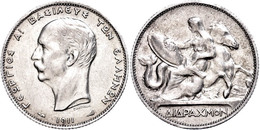 2 Drachmen, 1911, Georg I., KM 61, Avers Leicht Berieben, F. Vz. - Grecia