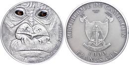 1.000 Francs, 2012, Cross River Gorilla, 1 Unze Silber, Antik Finish, Etui Mit OVP Und Zertifikat, St. Auflage Nur 1.000 - Kamerun