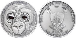 1.000 Francs, 2013, Baby Gorilla, 1 Unze Silber, Antik Finish, Real Eye Effect, Etui Mit OVP Und Zertifikat, St. Auflage - Kamerun