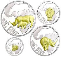 Set Zu 10 Bis 240 Francs (400 Francs Gesamt), 2013, Big Five - Rhinoceros, 1/10 Bis 1 Unze Silber, Schatulle Mit OVP Und - Kongo (Dem. Republik 1998)