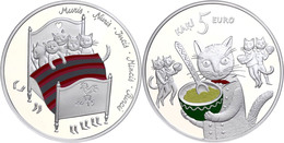 5 Euro, 2015, Fünf Katzen, 925er Silber, Coloriert, Etui Mit Zertifikat, PP. Auflage Nur 10.000 Stück.  PP - Lettland