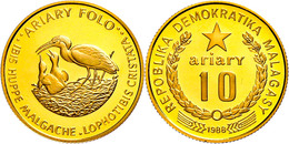 10 Ariary, Gold, 1988, Mähnenibis, KM 16, In Kapsel, PP.  PP - Madagascar