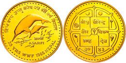 1 Tola Asarfi, Gold, 1986, Ganges Delphine, Fb. 61, In Kapsel, PP.  PP - Népal