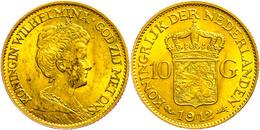 10 Gulden, Gold, 1912, Wilhelmina, Fb. 349, Ss-vz  Ss-vz - Pays-Bas
