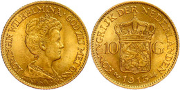 10 Gulden, Gold, 1913, Wilhelmina, Fb. 349, Vz-st  Vz-st - Pays-Bas