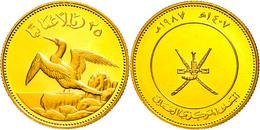 25 Rials, Gold, 1987, Maskentölpel, KM 74, In Kapsel, PP.  PP - Oman
