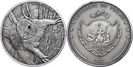 5 Dollars, 2012, Rotes Eichhörnchen, 1 Unze Silber, Antik Finish, Mit Swarovski, Etui Mit OVP Und Zertifikat, St. Auflag - Palau
