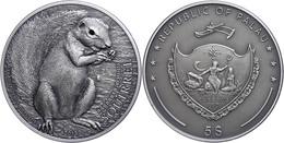 5 Dollars, 2013, Graues Eichhörnchen, 1 Unze Silber, Antik Finish, Mit Swarovski, Etui Mit OVP Und Zertifikat, St. Aufla - Palau