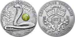 1.500 Francs, 2012, Year Of The Snake, 2 Unzen Silber, Antik Finish, Stein, In Kapsel Mit Zertifikat, St. Auflage Nur 99 - Togo