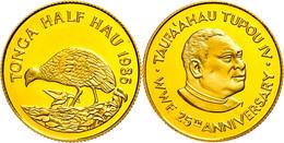1/2 Hau, Gold, 1986, Polynesisches Großfußhuhn, KM 122, In Kapsel, PP.  PP - Tonga