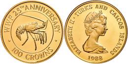 100 Crowns, Gold, 1988, Karibik-Languste, KM 65, In Kapsel, PP.  PP - Turks & Caicos (Îles)